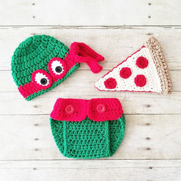 Crochet Baby Ninja Turtle Hat Beanie Pizza Diaper Cover Set Newborn Infant Handmade Photography Photo Prop Baby Shower Gift - Red Lollipop Boutique