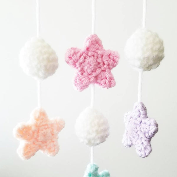 Crochet Baby Moon Mobile Nursery Decor Wall Decor Crib Decoration Handmade Baby Shower Gift Present - Red Lollipop Boutique