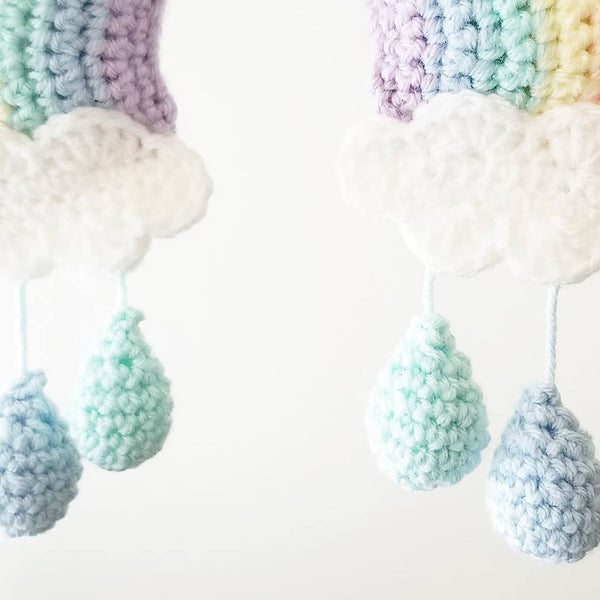 Crochet Baby Rainbow Mobile Nursery Decor Wall Decor Crib Decoration Handmade Baby Shower Gift Present - Red Lollipop Boutique