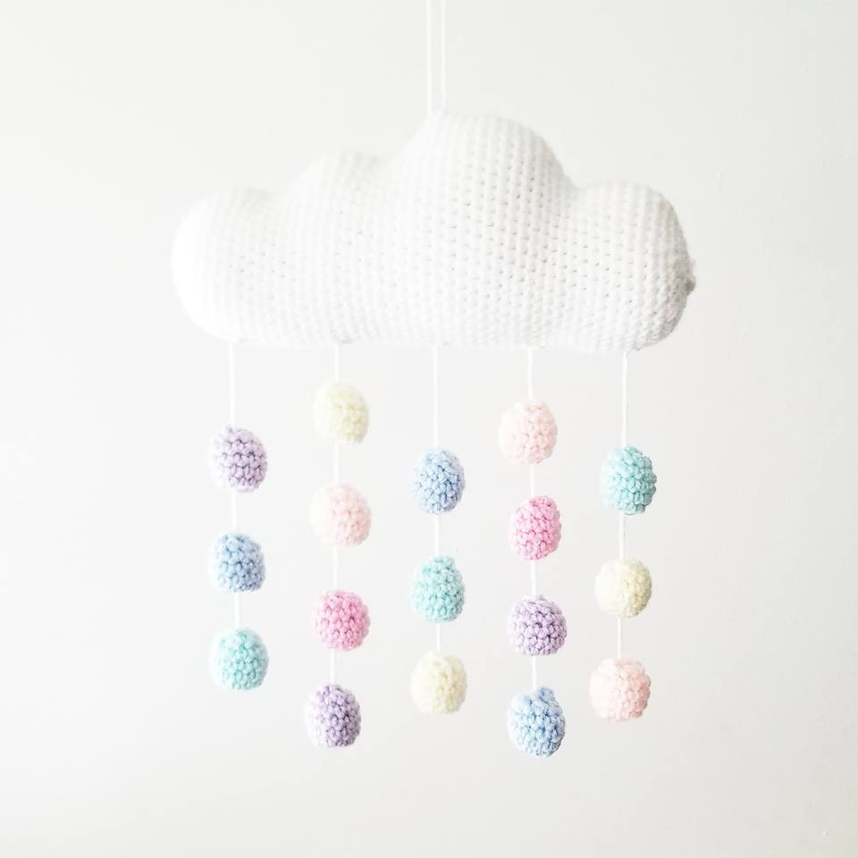 Crochet Baby Cloud Mobile Nursery Decor Wall Decor Crib Decoration Handmade Baby Shower Gift Present - Red Lollipop Boutique