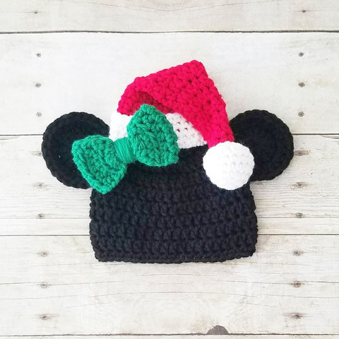 Crochet Minnie Mouse Christmas Beanie Santa Bow Hat Infant Newborn Baby Toddler Child Adult Boy Photography Photo Prop Baby Shower Gift
