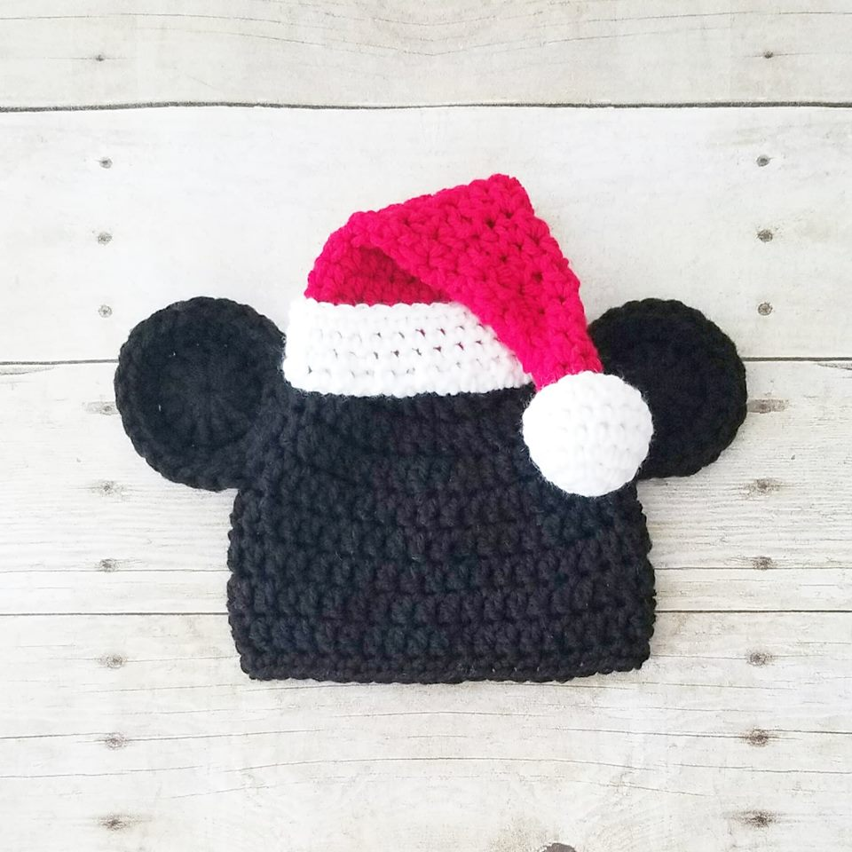 38ba3c44e02 Crochet Mickey Mouse Christmas Beanie Santa Hat Infant Newborn Baby To –  Red Lollipop Boutique