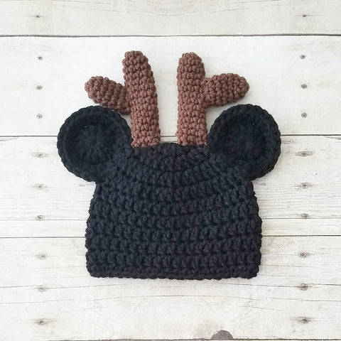 Crochet Mickey Mouse Christmas Beanie Reindeer Antler Hat Infant Newborn Baby Toddler Child Adult Boy Photography Photo Prop Baby Shower Gift