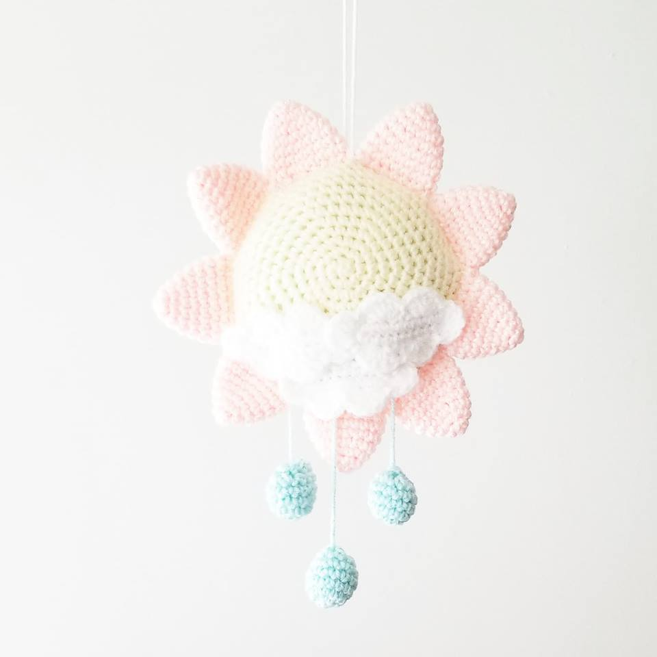 Crochet Baby Sun Mobile Nursery Decor Wall Decor Crib Decoration