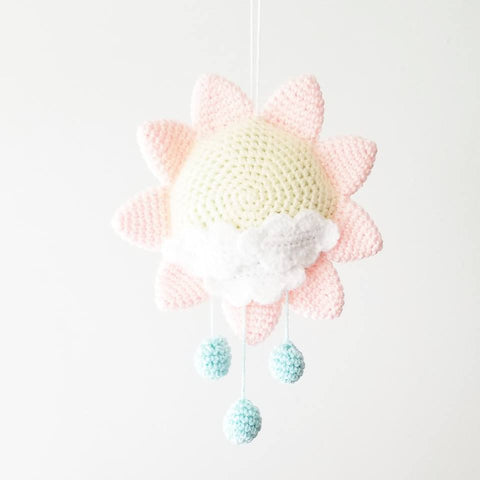 Crochet Baby Sun Mobile Nursery Decor Wall Decor Crib Decoration Handmade Baby Shower Gift Present - Red Lollipop Boutique