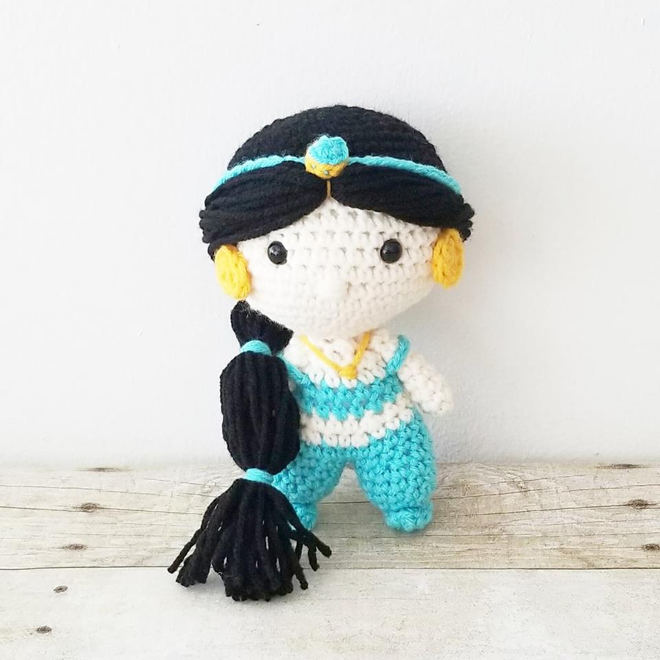 Crochet Jasmine Disney Princess Doll Mini Toy Handmade Infant Newborn Baby Nursery Decor Toddler Toy Baby Shower Gift