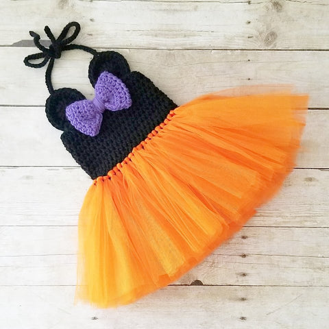 Crochet Minnie Mouse Halloween Tutu Dress Infant Newborn Baby Toddler Child Handmade Photography Photo Prop Baby Shower Gift Present