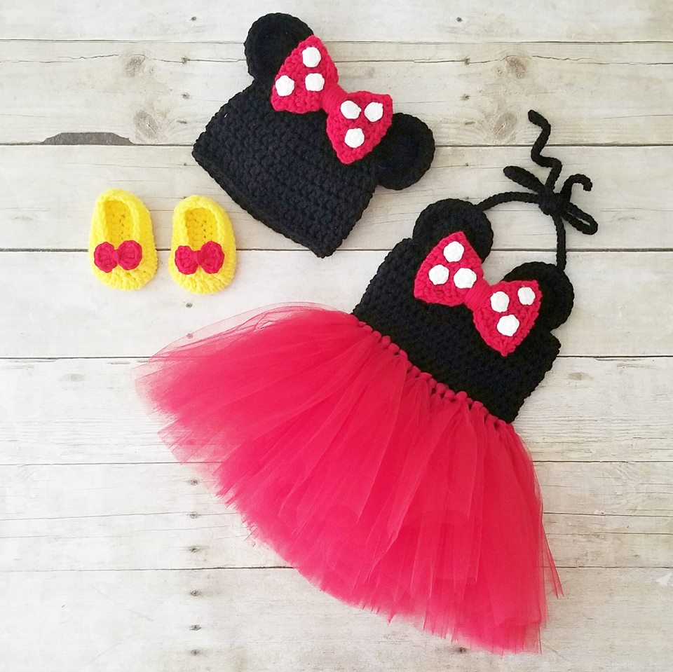 102dcf10d Crochet Baby Minnie Mouse Tutu Dress Set Bow Beanie Hat Shoes Polka Dots  Infant Newborn Baby