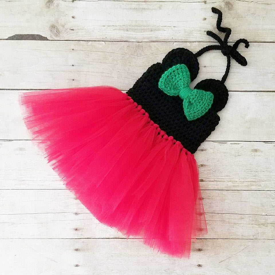 Crochet Minnie Mouse Christmas Tutu Dress Infant Newborn Baby Toddler Child Handmade Photography Photo Prop Baby Shower Gift Present
