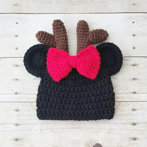 Crochet Minnie Mouse Christmas Beanie Reindeer Antler Bow Hat Infant Newborn Baby Toddler Child Adult Boy Photography Photo Prop Baby Shower Gift