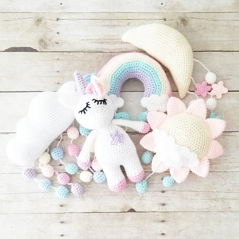 Crochet Rainbow Unicorn Sky Baby Crib Mobile Nursery Decor Sun Moon Stars Raindrops Baby Wall Decor Room Decorations Baby Shower Gift