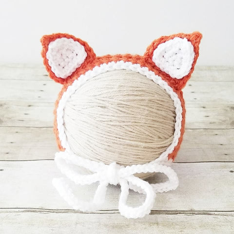 Crochet Baby Fox Bonnet Hat Infant Newborn Baby Handmade Photography Photo Prop Baby Shower Gift - Red Lollipop Boutique