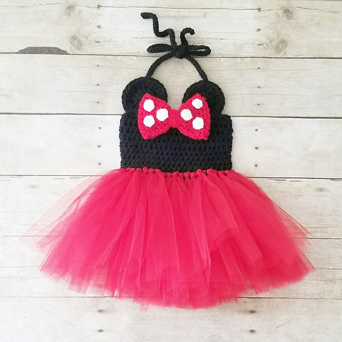 Crochet Baby Minnie Mouse Tutu Dress Set Bow Polka Dots Infant Newborn Baby Toddler Child Handmade Photography Photo Prop Baby Shower Gift Present - Red Lollipop Boutique