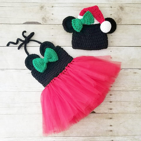 Crochet Minnie Mouse Christmas Tutu Dress Santa Hat Set Infant Newborn Baby Toddler Child Handmade Photography Photo Prop Baby Shower Gift Present