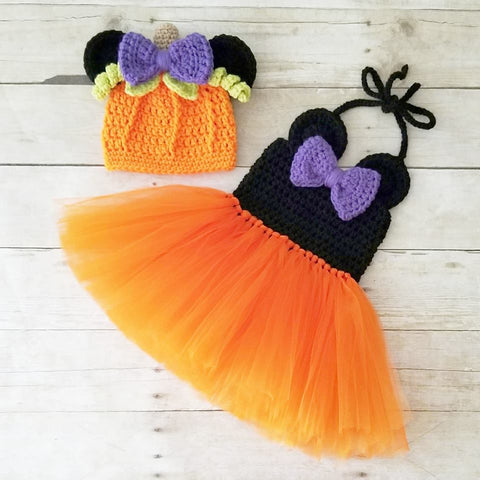 Crochet Minnie Mouse Halloween Tutu Dress Pumpkin Beanie Set Infant Newborn Baby Toddler Child Handmade Photography Photo Prop Baby Shower Gift Present