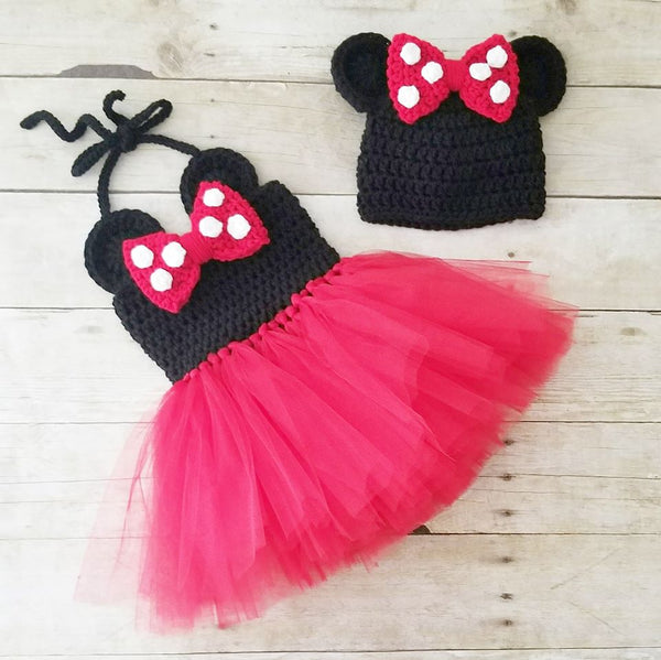 Crochet Baby Minnie Mouse Tutu Dress Set Bow Beanie Hat Shoes Polka Dots Infant Newborn Baby Handmade Photography Photo Prop Baby Shower Gift Present - Red Lollipop Boutique