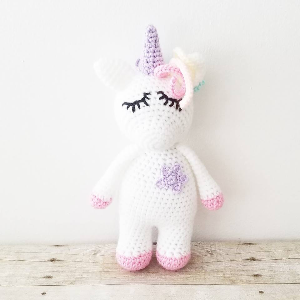 Crochet Sleepy Unicorn Mini Doll Toy Infant Baby Toddler Stuffed Animal Imagination Magical Girl Nursery Room Decor Decorations Baby Shower Gift Present