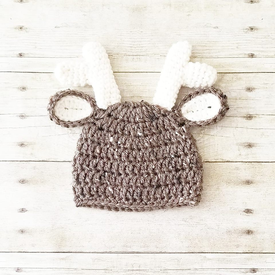 9627e447c51 Crochet Baby Deer Hat Beanie Antlers Infant Newborn Baby Toddler Child Adult  Handmade Photography Photo Prop