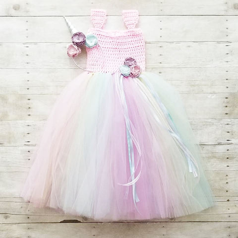 Crochet Long Tutu Dress Flower Girl Party Dress Unicorn Headband Infant Newborn Baby Toddler Child Handmade Photography Photo Prop