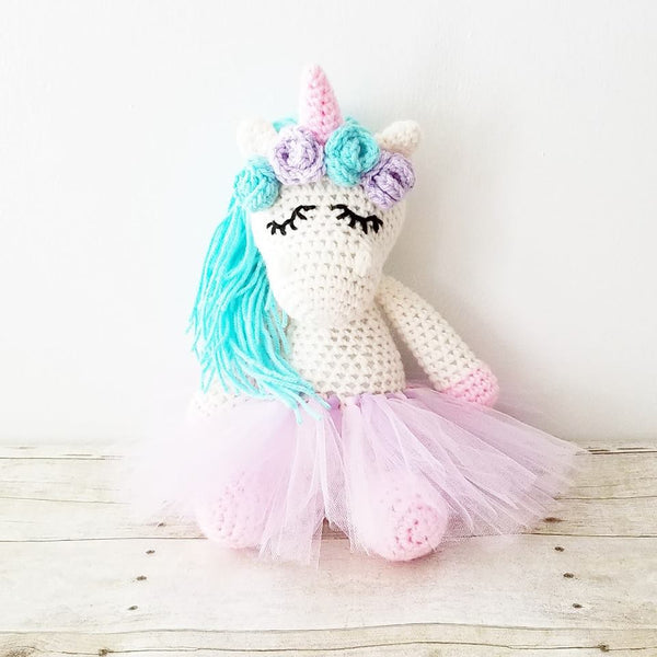 Crochet Sleepy Unicorn Ballerina Tutu Doll Toy Handmade Infant Newborn Baby Toddler Nursery Decor Photography Photo Prop Baby Shower Gift Present