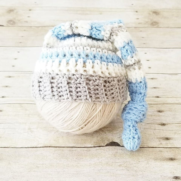 Crochet Baby Knot Beanie Hat Striped Top Knot Infant Newborn Baby Toddler Child Photography Photo Prop Baby Shower Gift Present Newborn Pics - Red Lollipop Boutique
