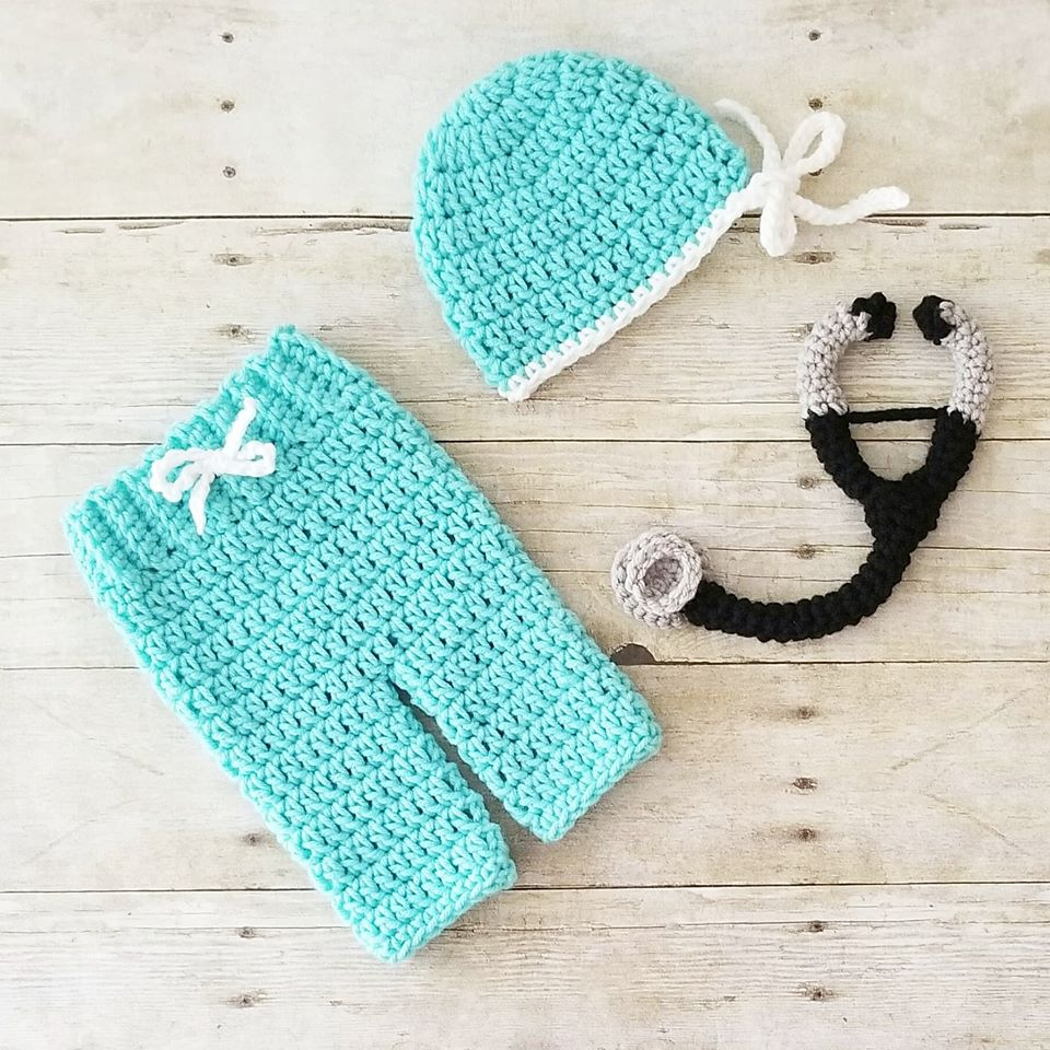 Crochet Baby Doctor Nurse Scrubs Stethoscope Hat Pants Set Infant
