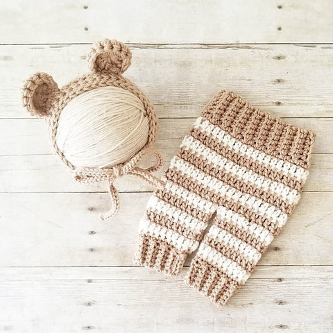 Crochet Bear Bonnet Hat Beanie Striped Pants Set Infant Newborn Baby Handmade Photography Photo Prop Baby Shower Gift Present - Red Lollipop Boutique