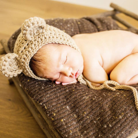 Crochet Baby Bear Bonnet Hat Beanie Infant Newborn Baby Handmade Photography Photo Prop Handmade Baby Shower Gift Present - Red Lollipop Boutique