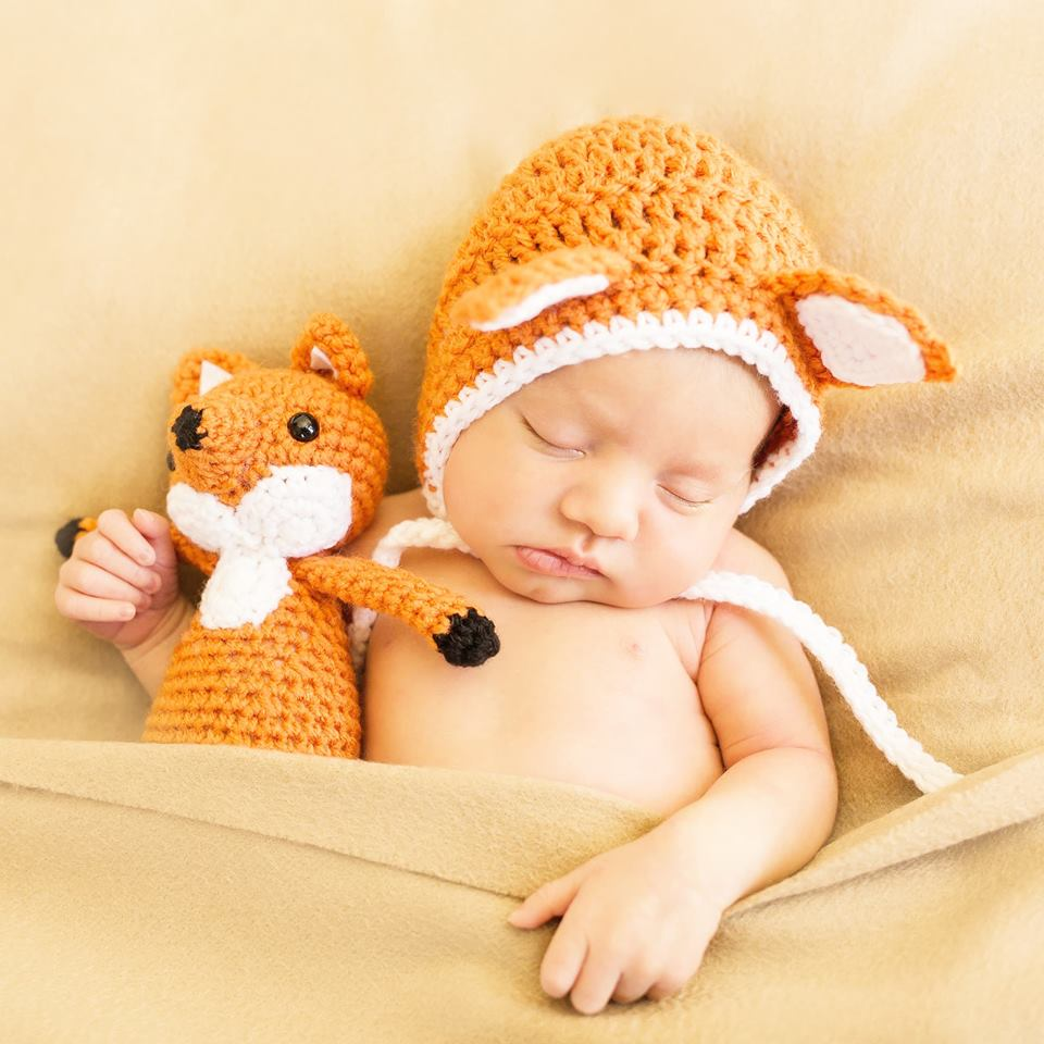 Crochet Baby Fox Bonnet Hat Stuffed Animal Stuffie Doll Set Infant Newborn Baby Handmade Photography Photo Prop Baby Shower Gift Present - Red Lollipop Boutique