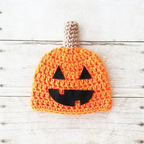 Crochet Pumpkin Jack-o-lantern Beanie Hat Halloween Costume Newborn Baby Infant Toddler Child Handmade