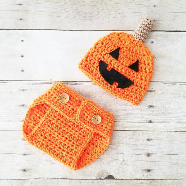Crochet Baby Pumpkin Jack-o-lantern Beanie Hat Diaper Cover Set Halloween Fall Thanksgiving Newborn Infant Baby Photography Photo Prop Handmade - Red Lollipop Boutique