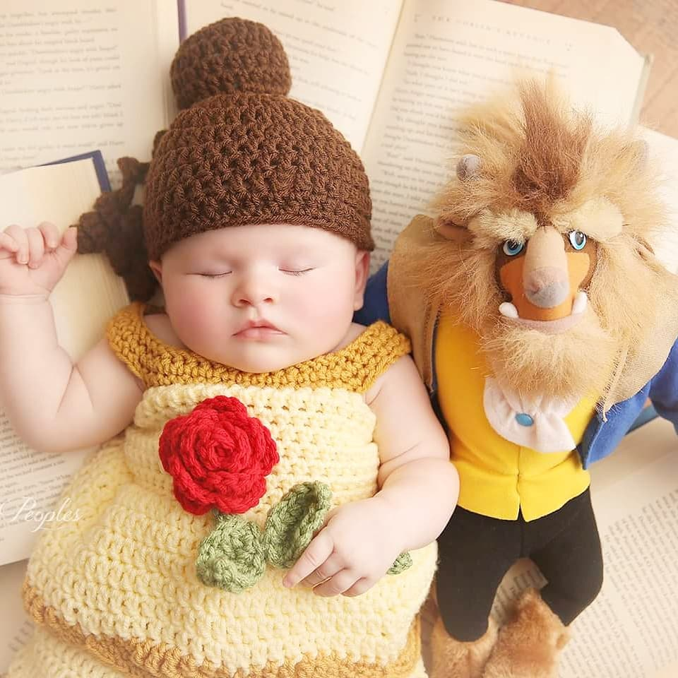 8a8500b7e ... Crochet Baby Belle Beauty and the Beast Infant Newborn Baby Dress Beanie  Hat Shoes Rose Set ...