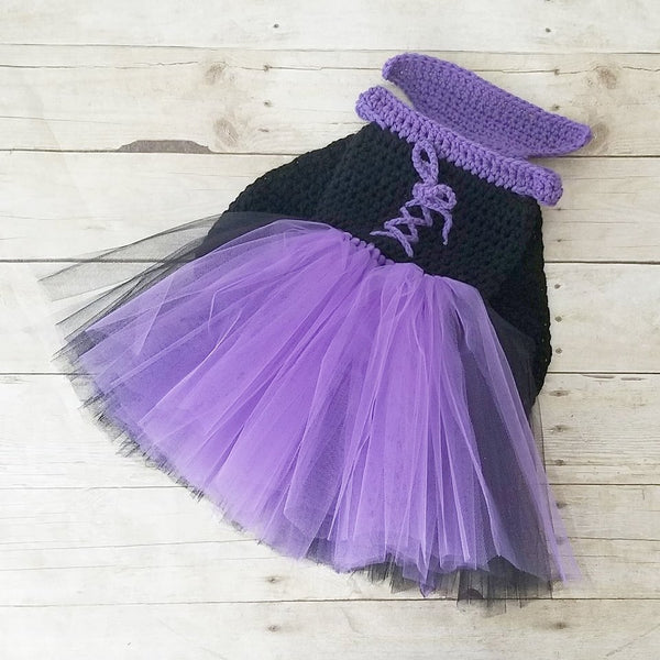 Crochet Baby Maleficent Costume Dress Tutu Hat Beanie Staff Set Infant Newborn Baby Toddler Child Handmade Baby Shower Gift Present - Red Lollipop Boutique