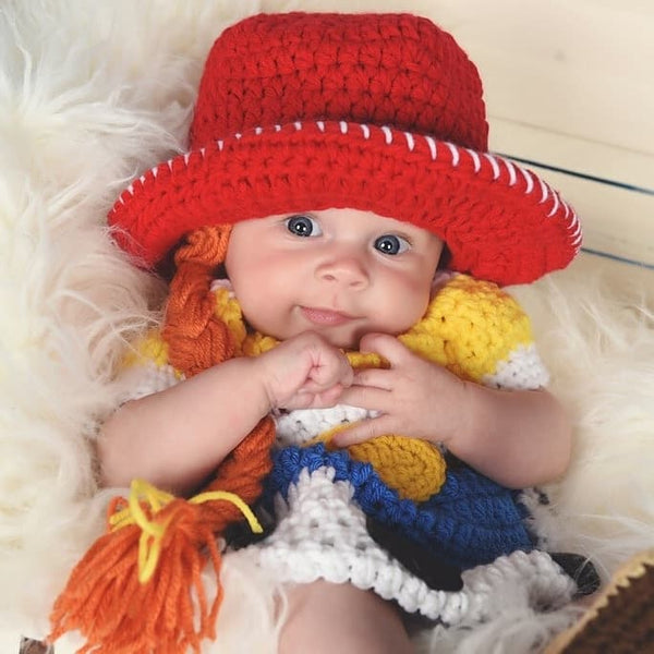 Crochet Baby Jessie Dress Toy Story Skirt Cowgirl Hat Beanie Braid Cowboy Boots Infant Newborn Baby Photography Photo Prop Baby Shower Gift - Red Lollipop Boutique