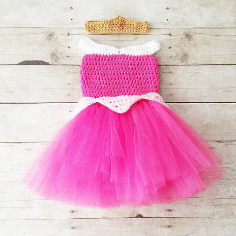 Crochet Baby Sleeping Beauty Aurora Dress Tutu Crown Set Infant Newborn Baby Toddler Child Handmade Costume Photography Photo Prop Baby Shower Gift Present - Red Lollipop Boutique