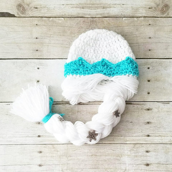 Crochet Baby Elsa Dress Tutu Hat Set Frozen Infant Newborn Baby Toddler Child Handmade Costume Photography Photo Prop Baby Shower Gift Present - Red Lollipop Boutique