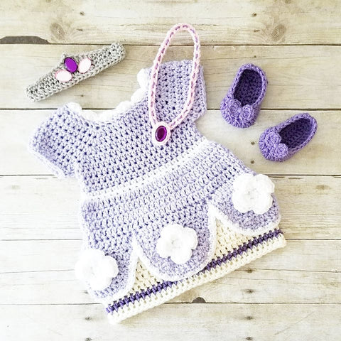 118371ee76c Crochet Baby Sophia The First Dress Set Headband Crown Bow Shoes Rhinestone  Jewels Amulet Necklace Infant