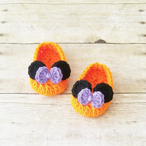 Crochet Baby Minnie Mouse Halloween Pumpkin Bow Shoes Infant Newborn Baby Handmade Photography Prop Baby Shower Gift Present - Red Lollipop Boutique