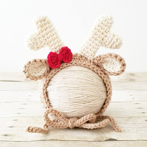 Crochet Baby Reindeer Bonnet Beanie Hat Christmas Deer Newborn Infant Photography Photo Prop Handmade Baby Shower Gift - Red Lollipop Boutique