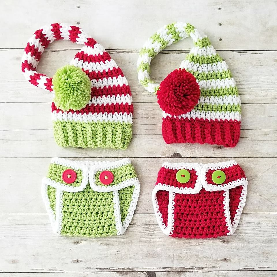 Crochet Baby Christmas Striped Stocking Cap Hat Diaper Cover Set Infant  Newborn Baby Handmade Photography Photo b6c15aea1f46