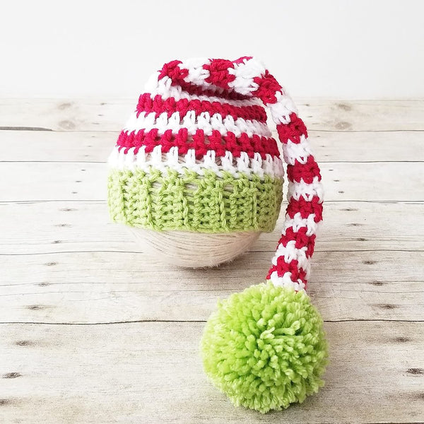 Crochet Baby Christmas Striped Stocking Cap Hat Diaper Cover Set Infant Newborn Baby Handmade Photography Photo Prop Baby Shower Gift - Red Lollipop Boutique