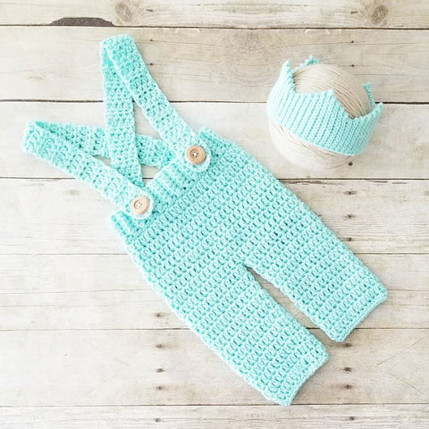 Crochet Baby Prince Crown Overalls Pants Set King Infant Newborn Baby Handmade Photography Photo Prop Baby Shower Gift Present