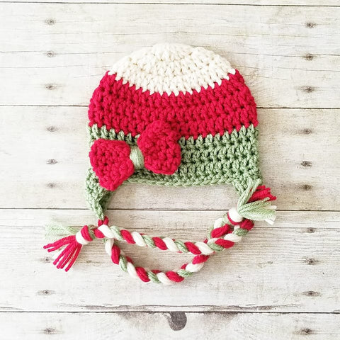 READY TO SHIP 3-6 Months Crochet Christmas Bow Beanie Hat Infant Baby Handmade Photography Photo Prop Baby Shower Gift Present