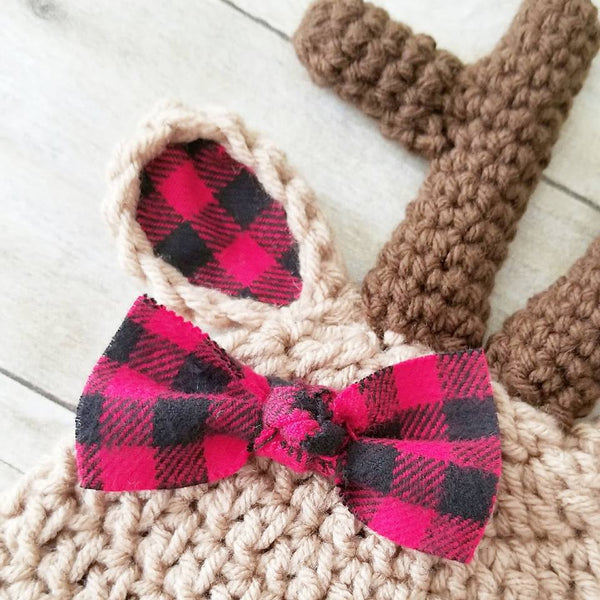 READY TO SHIP 0-3 Months Crochet Baby Reindeer Deer Plaid Christmas Beanie Hat Infant Baby Photography Photo Prop Baby Shower Gift Present