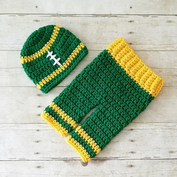 Crochet Baby Football Beanie Hat Shoes Pants Set NFL Team Infant Newborn Baby Handmade Photography Photo Prop Baby Shower Gift Present - Red Lollipop Boutique