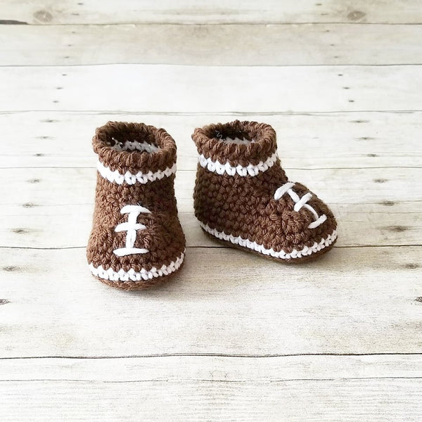 Crochet Baby Football Beanie Hat Shoes Set NFL Team Infant Newborn Baby Handmade Photography Photo Prop Baby Shower Gift Present - Red Lollipop Boutique