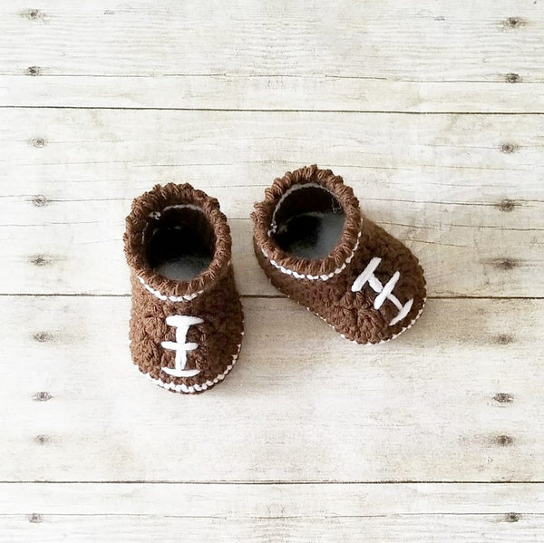 Crochet Baby Football Shoes Boots Booties NFL Infant Newborn Baby Handmade Photography Photo Prop Baby Shower Gift Present - Red Lollipop Boutique
