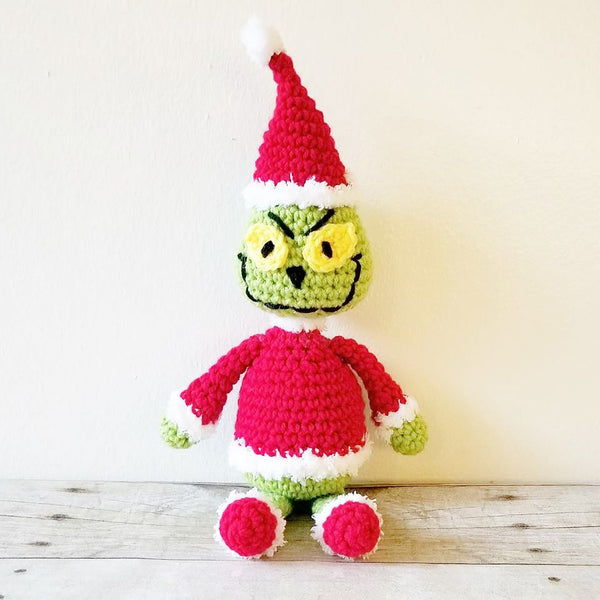 Crochet Grinch Santa Cindy Lou Who Dr. Seuss Set Hat Beanie Doll Toy Infant Newborn Baby Toddler Handmade Photography Photo Prop Baby Shower Gift Present