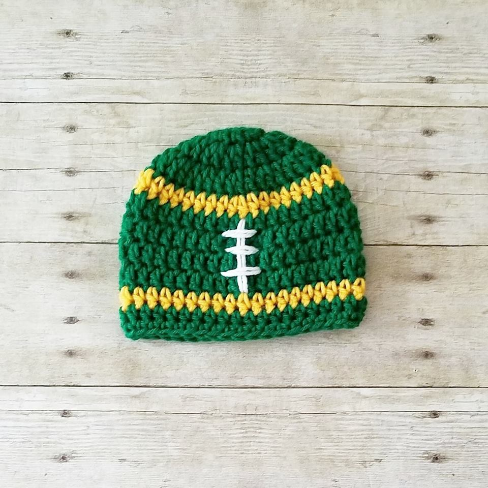 Crochet Baby Football Beanie Hat NFL Team Infant Newborn Baby Toddler Child Adult Handmade Photography Photo Prop Baby Shower Gift Present - Red Lollipop Boutique