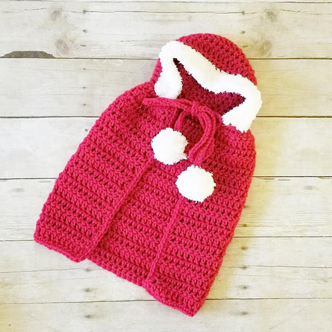 4571ecb54e72d Crochet Baby Christmas Hooded Cape Sweater Poncho Infant Newborn Baby  Toddler Handmade Photography Photo Prop -